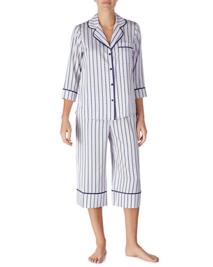 b3eca1f6f1 kate spade new york striped heart charmeuse cropped pajama set