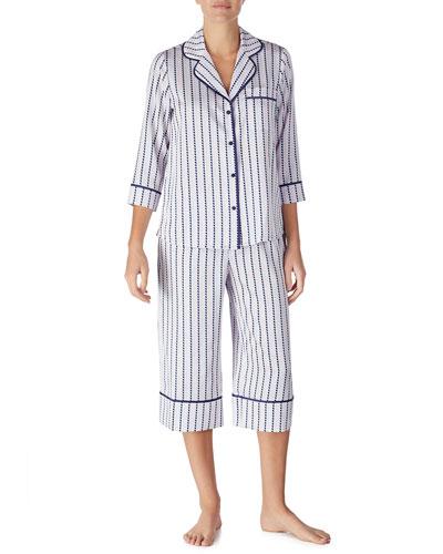 striped heart charmeuse cropped pajama set
