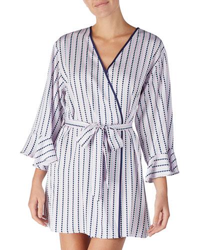 striped heart charmeuse short robe