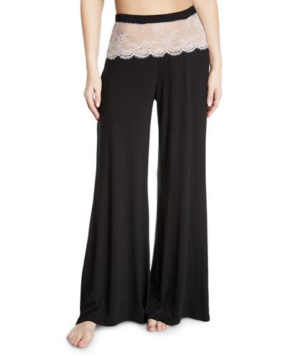 Glamour Lace-Trim Wide-Leg Lounge Pants