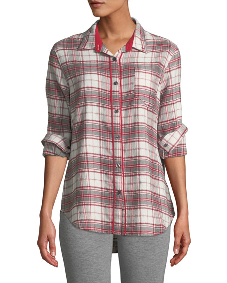 Pj Salvage ON HOLIDAY PLAID LOUNGE TOP
