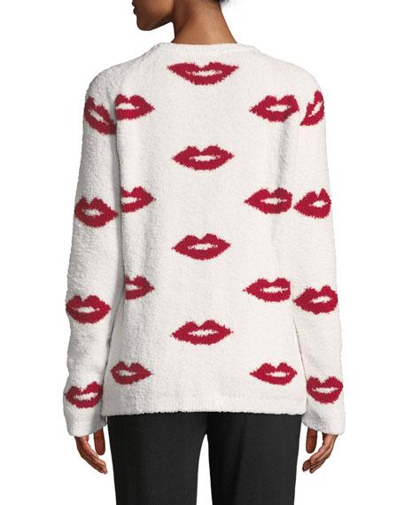 True Love Lip-Print Marshmallow-Knit Sweater