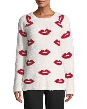 PJ Salvage True Love Lip-Print Marshmallow-Knit Sweater dd6bfbf1d