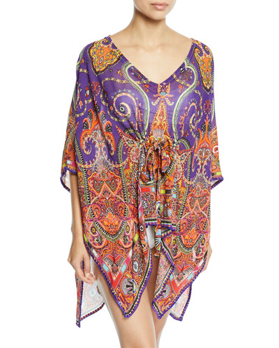 Printed V-Neck Coverup Caftan