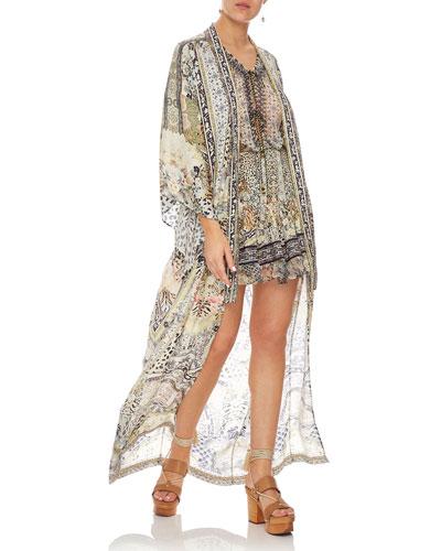 Embellished Silk Long Kimono Coat Coverup