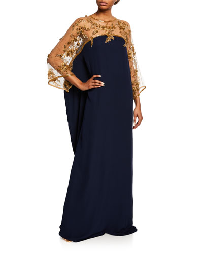 Caftan-Style Silk Illusion Gown