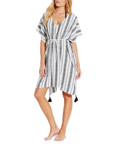 Lattice Jacquard Stripe Short-Sleeve Kaftan