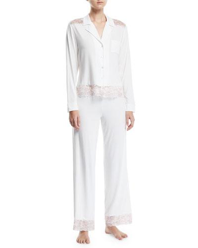 Savona Lace-Trim Long Pajama Set