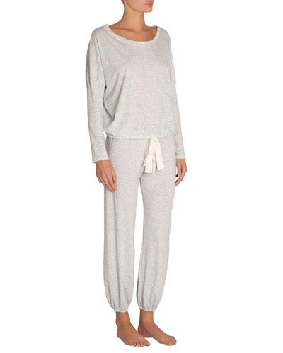 Abstract Animal-Print Slouchy Long Pajama Set