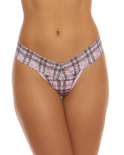 Plaid Lace Low-Rise Thong