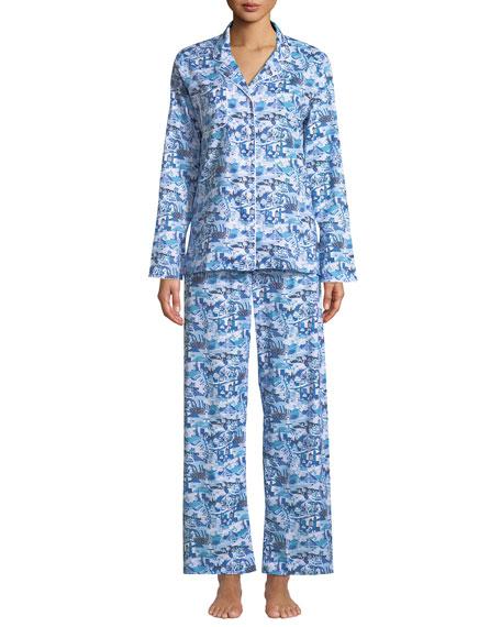 03c56011bb Derek Rose Ledbury Scenic-Print Cotton Pajama Set