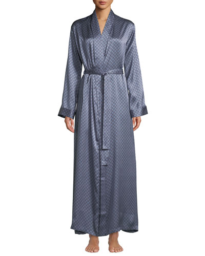 Brindisi Long Medallion-Print Silk Robe