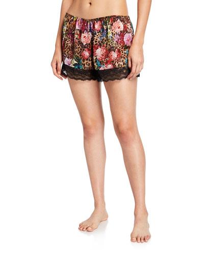 Corolle Fauve Floral-Print Satin Lounge Shorts