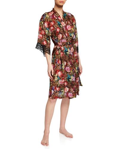 Corolle Fauve Lace-Trim Robe