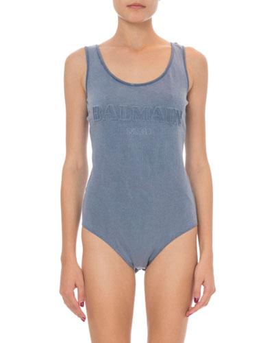 Sleeveless Embossed Logo Bodysuit