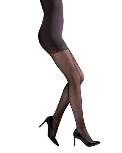 Bristles Lace Sheer Floral-Pattern Control-Top Tights