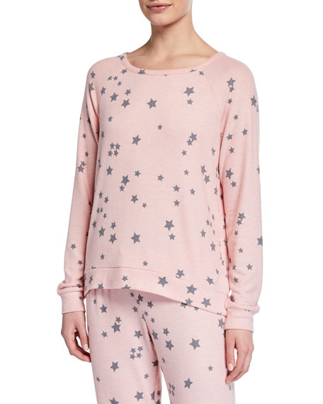 Pj Salvage Tops ALLOVER STAR-PRINT LONG-SLEEVE LOUNGE TOP