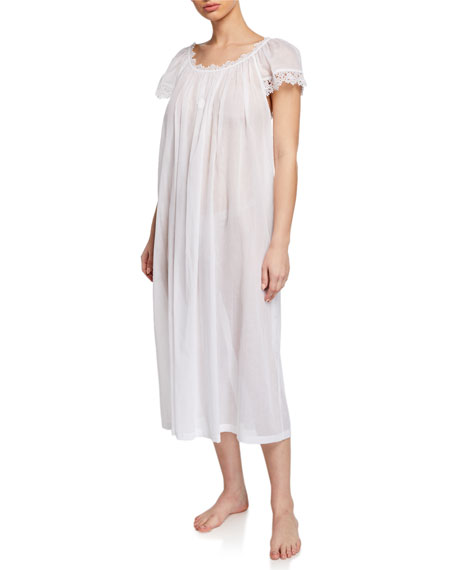 Celestine Tops MIRI SCOOP-NECK CAP-SLEEVE NIGHTGOWN WITH LACE TRIM