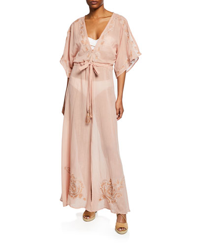 Montego Belted Maxi Coverup Caftan with Embroidery