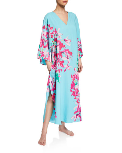 Hyacinth Butterfly-Sleeve Caftan  Plus Size