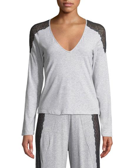 Cosabella Ferrara Lace-Trimmed Long-Sleeve Top