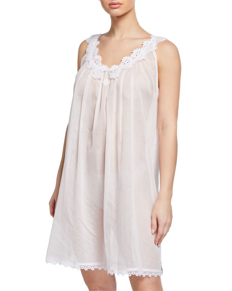 Celestine Tops AZISA SLEEVELESS BABYDOLL NIGHTGOWN WITH FLORAL-LACE TRIM