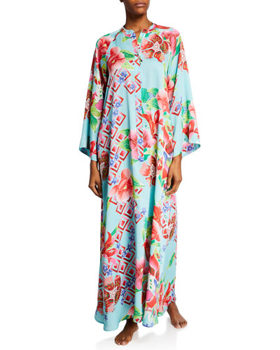 Plus Size Star Blossom Floral-Print Zip-Front Caftan