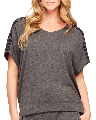Casual Perfection Stripe-Inset Cocoon Top