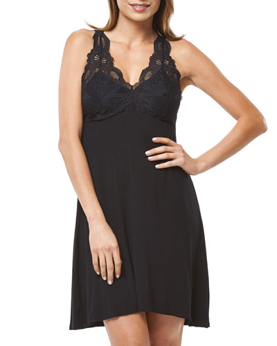 Belle Epoque Lace-Trim T-Back Chemise  Black