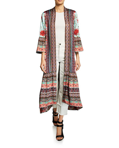 Dottie Mixed-Print Open-Front Long Seamed Kimono