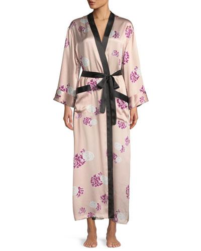 Contrast-Trim Floral-Print Silk Robe