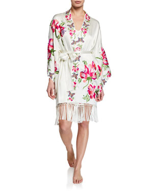 4f4c9788517d3 Josie Natori Lily Floral-Embroidered Fringed-Hem Robe. Favorite. Quick Look