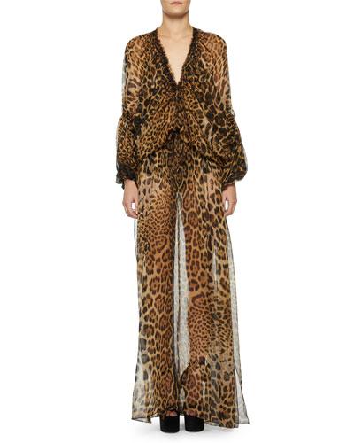 Sheer Leopard-Print Caftan