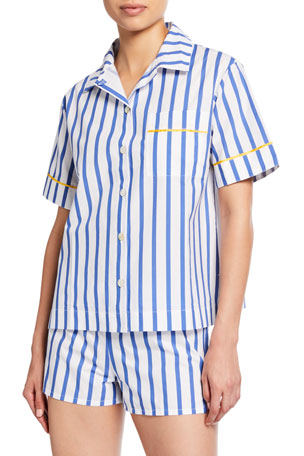 Hesper Fox Lulu Short-Sleeve Striped Pajama Shirt
