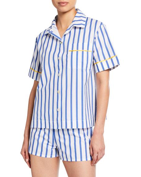 Hesper Fox Lulu Short-Sleeve Striped Pajama Shirt