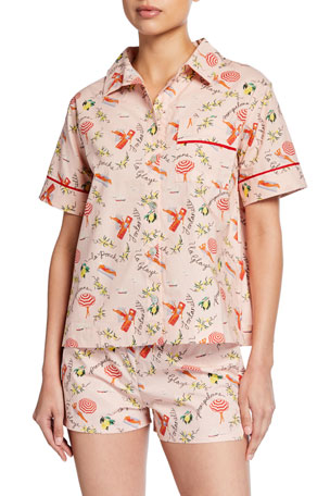 Hesper Fox Lulu Short-Sleeve Beach-Print Pajama Shirt