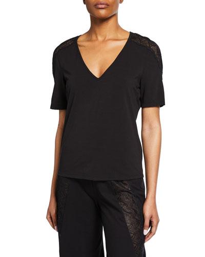 Ferrara Lace-Inset Short-Sleeve Lounge Shirt