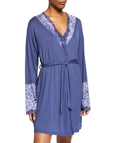Natalia Lace-Trim Short Robe