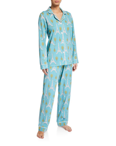 Plus Size Eiffel Bouquet Classic Pajama Set