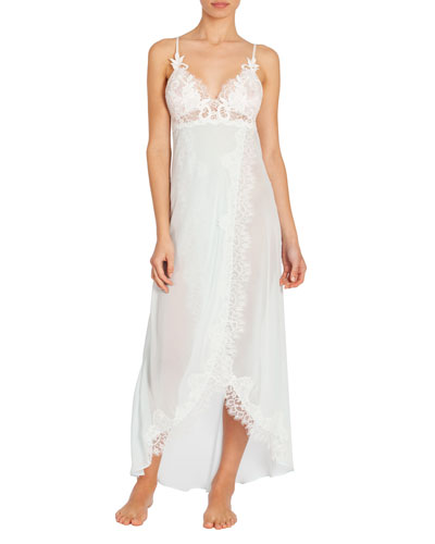 Stephanie Lace-Trim Chiffon Long Nightgown