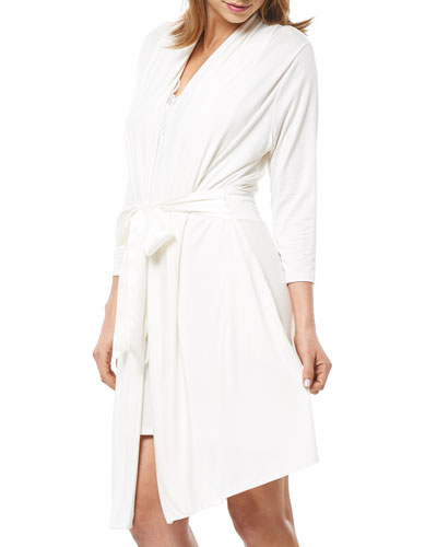 Take Me Away Short Jersey Robe w/ Silk Ties  Ivory