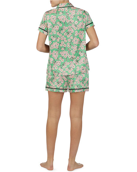 30a54d94d37 Kate Spade Floral-Print Charmeuse Shortie Pajama Set In Green