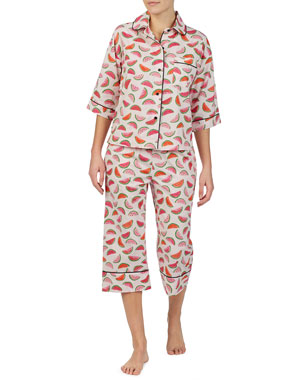 be5cb0900578 kate spade new york lawn watermelon-print crop pajama set