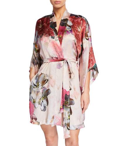 Camille Floral-Print Silk Short Robe