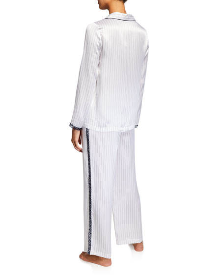 Neiman Marcus Lace-Trim Silk Pajama Set