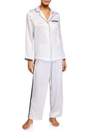 Neiman Marcus Lace-Trim Silk Pajama Set