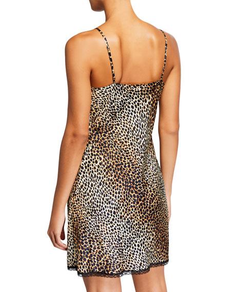 Neiman Marcus Lace-Trim Leopard Chemise