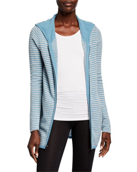 Neiman Marcus Cashmere Collection Cashmere Striped Zip-Front Hoodie