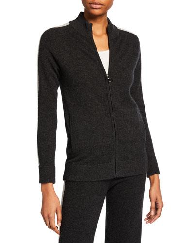 Cashmere Zip-Front Track Jacket