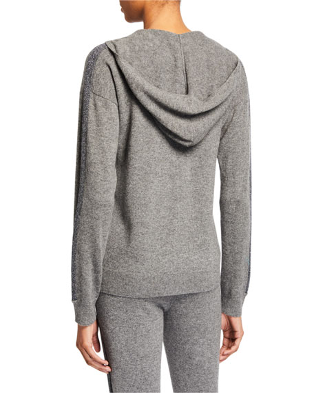 Neiman Marcus Cashmere Collection Cashmere Metallic-Stripe Zip-Front Hoodie